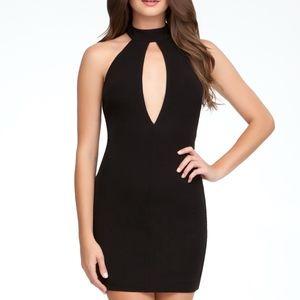 bebe Keyhole Front Halter Black Dress Size Large